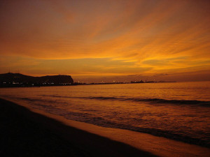 Arica beach at sunset
